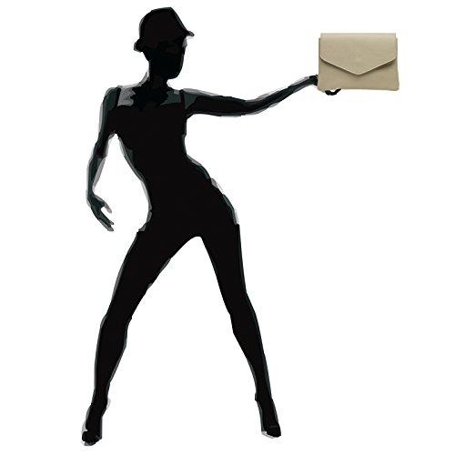 CASPAR TL772 Damen Envelope Lederhandasche / Umhängetasche / Clutch aus samtweichem Nappaleder Beige