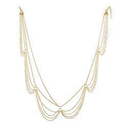 Aaishwarya Golden Princess Layered Head Chain For Women & Girls
