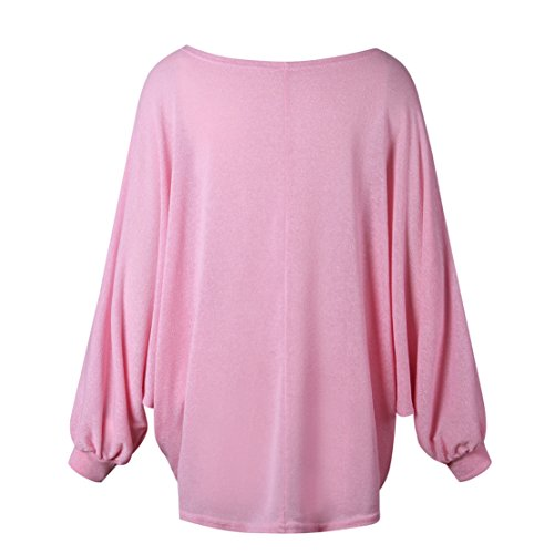 Pullover Oversize Donna Ragazza Tumblr Sweatshirt Maniche Lunghe a Pipistrello Lavorato a Maglia Allentato Maglione Blusa Camica Top Jumper Autunno Inverno Rosa