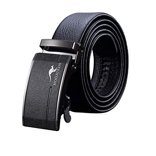 Herren Business Ledergürtel, verstellbarer Bund aus echtem Leder mit Ratsche, automatischer Gürtelschnalle, ideal for Jeans, Freizeit-, Cowboy- und Arbeitskleidung ( Farbe : Schwarz , Größe : 45.3in )