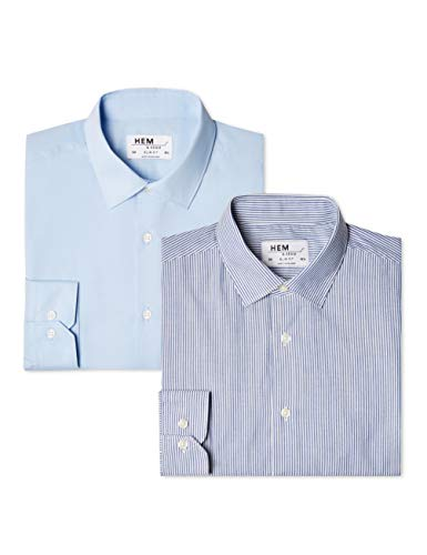 Hem & Seam Herren Formales gestreiftes Slim Fit-Hemd, 2er Pack, Blau (Bengal Blue / Blue), 56 (Herstellergröße: 17) (Gestreiften Hemd Bengal)