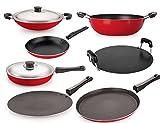 Best Cookware Materials - Nirlon Non-Stick Aluminium Cookware Set, 7-Pieces, Red (FT12CTFP12KD12TPACRT) Review