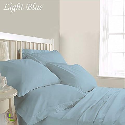 1000TC Elegante Finitura 6in 100% cotone egiziano set Solid (Pocket Size: 18inches), Cotone, Light Blue Solid, EU_King