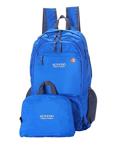 SUNYOO Faltbarer Rucksack 20L 35L Wasserdichter Leichter Wandern Rucksack Daypack Blau