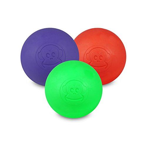 Preisvergleich Produktbild Captain LAX Massageball Original - Lacrosseball im 3er Pack mit den Farben Violett,  Rot,  Neon Grün,  aus Hartgummi,  Größe einzeln 6 x 6 cm geeignet für Triggerpunkt- & Faszienmassage / Crossfit