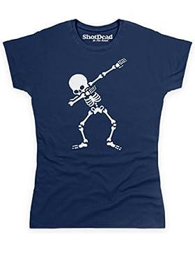 Shotdeadinthehead Dabbing Skeleton Camiseta, para Mujer, Azul Marino, 2XL