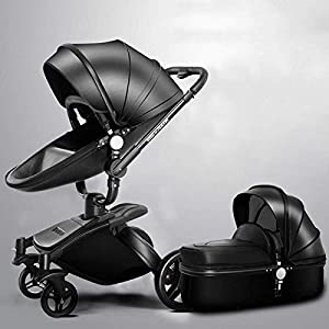 LAZ 2 in 1 Baby Stroller High Landscape 360°Rotating Seat with Lying Position Lightweight Folding Two-Way Awning Storage Basket (Color : Black Rose)   14