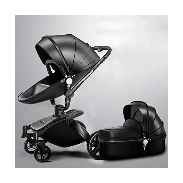 LAZ 2 in 1 Baby Stroller High Landscape 360°Rotating Seat with Lying Position Lightweight Folding Two-Way Awning Storage Basket (Color : Black Rose) LAZ Suitable for baby strollers from birth to 25 kg, each stroller is pressure tested to ensure the safety of each baby. 【TRAVEL SYSTEM FOR OUTDOOR DEMANDS】Our foldable pram pushchair is the best choice for family to go out, which is convenient, saving time and energy while in traveling. When using some vehicles, this foldable will not be trouble, just fold it and carry as the detachable handrail is convenience for use and storage. 【360°SWIVEL SHOCK PROOF WHEELS】We use high-quality materials for wheels which makes it shock proof and also available for long time daily use. It can rotate easily according to your operate. And the 360 degrees swiveling front wheels also features built-in suspension for easy maneuverability. 1