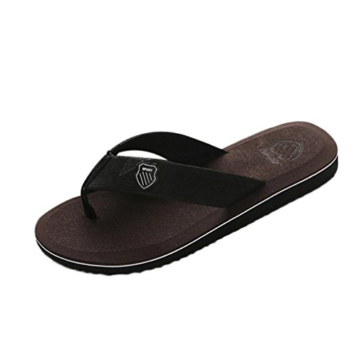 FNKDOR Herren Zehentrenner Flip Flop Männer Sommer Flach Schuhe Pantoletten (43, Braun)