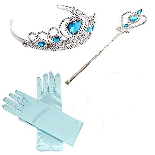Brigamo 54180 - ❄ Elsa Kostüm Zubehör, Eisprinzessin Verkleidung Fasching Set bestehend aus funkelndem Diadem, Handschuhe, Zauberstab ❄ thumbnail
