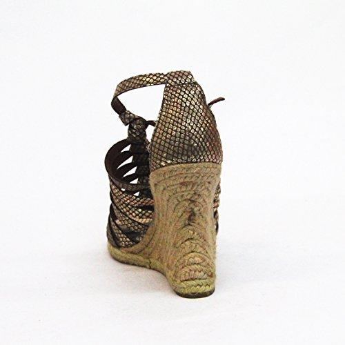 SAM EDELMAN Keilabsatz Offene Zehen Sandale UK 3,5 Egyptiongold