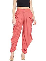 BITTERLIME Womens Crepe Solid Dhoti Pant (BLMG12781S, Peach, Small)