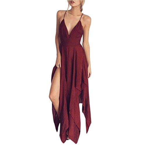 kleid damen Hffan Frauen mit V-Ausschnitt elegante backless lange Kleid Partykleid Strandkleid Abendkleid Sommerkleid Dress Sundress (Rot, L) - Schwarze Krepp-kleid