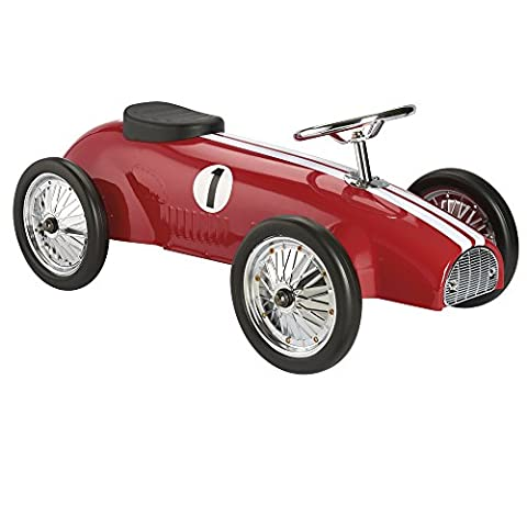 Classic Retro Metal Ride/Sit On Vintage Hot Rod Racing Car Racer for Kids (Red)