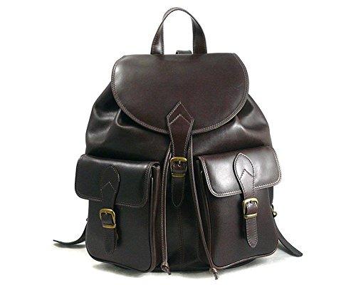 SAGEBROWN Large Leather Rucksack Brown