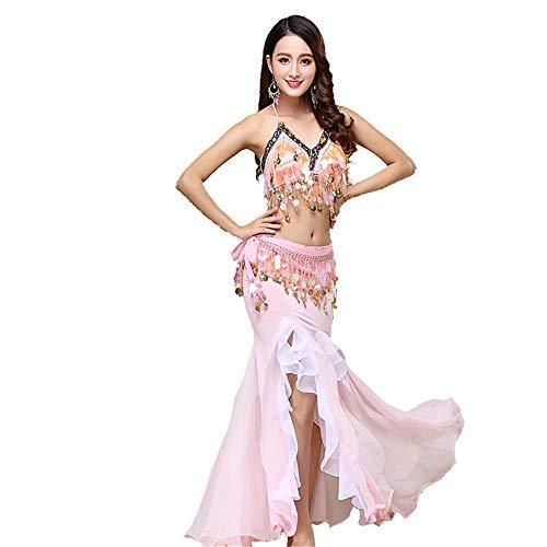 CPH20 Indian Dance Performance Anzug Chiffon Bauchtanz Performance Kleid Tanzfee, Tanzleben. (Farbe : Rosa, Größe : - Black Indian Girl Kostüm