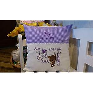 Kissen mit Namen zur Geburt (Teddy girl lila)