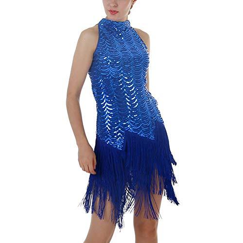 Tänzer Kostüm Ballsaal Halloween - XXEE Damen Latein Rumba Dance Kleid Paillette Quasten Saum Verein Party Tänzer Sänger Entertainer Samba Tango Kleid,Blue,M