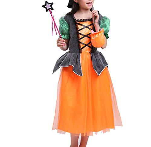zhbotaolang Toddler Girls Halloween Kostüm Kleid Niedliche Kurze Ärmel Kinder Cosplay Party Ausgefallene Kleid mit Hut 130cm