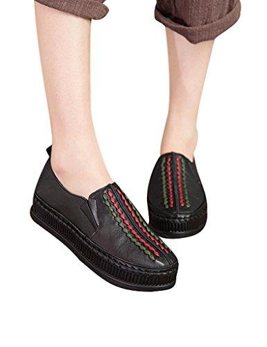 Youlee Femmes Femmes Bloc de couleur Chaussures en cuir Gris