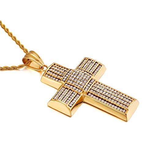 zum Männer, Vereist aus CZ Diamant Kreuz Anhänger Halskette 18K Gold Überzug Hiphop Halskette mit Seil Kette 26 '' ()