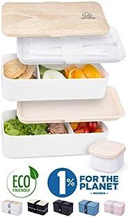 Umami Lunch Box | Boîte Bento Japonaise Premium avec 3 Couverts Solides Et 1 Pot À Sauce | 1200ml | Hermétique