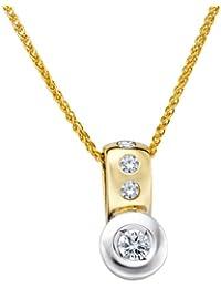 Diamond Line Damen - Halskette 585er Gold 4 Diamanten ca. 0,25 ct., gelbgold