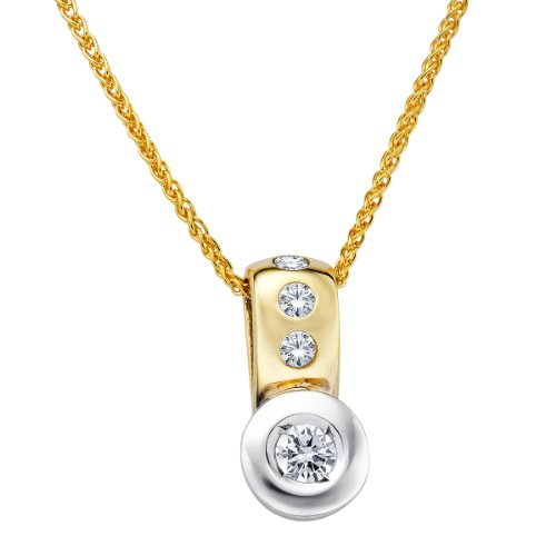 Diamond Line Damen - Halskette 585er Gold 4 Diamanten ca. 0,25 ct., gelbgold