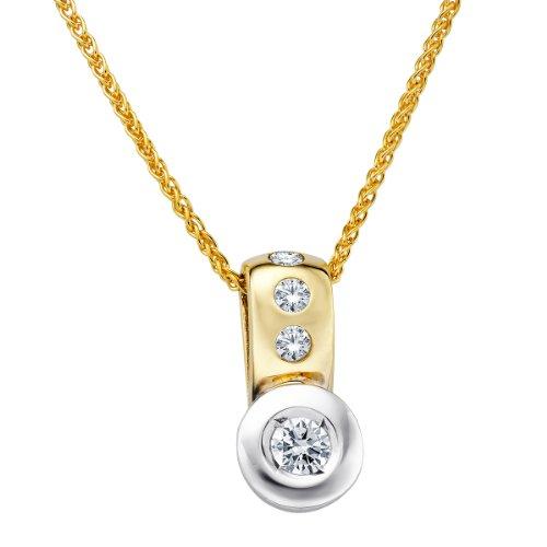 Diamond Line Damen - Halskette 585er Gold 4 Diamanten ca. 0,25 ct., gelbgold Preisvergleich