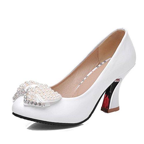 VogueZone009 Damen Hoher Absatz Eingelegt Ziehen auf Weiches Material Rund Zehe Pumps Schuhe, Blau, 38