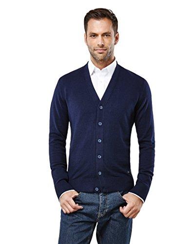 Vincenzo Boretti Herren-Strickjacke Slim-fit tailliert Cardigan Strick-Pullover einfarbig Baumwolle-Mix edel elegant leicht Fein-Strick für Business oder Casual dunkelblau S -