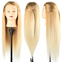 Training Head, Dansee Meibr 26-28 Inch Hairdressing Head 100% Synthetic Fiber Cosmetology Mannequin Dolls Head with Free Clamp for Braiding Stying