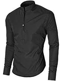 49eff60fc3 MODERNO Camisa Casual - con Botones - Cuello Abuelo - Manga Larga - para  Hombre