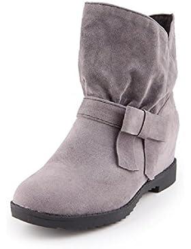 YORWOR Damen Klassiche Stiefeletten Wildleder Boots 6cm erhöht in Flache schuhe