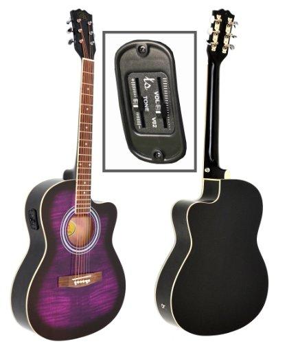 ts ideen, chitarra acustica, dimensioni standard, 4/4, stile western, colore viola e tigrato