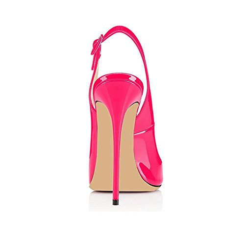 EDEFS Scarpe Peep Toe Donna Slingback Sandali Tacco a Spillo con Cinturino Caviglia Fibbia Rose