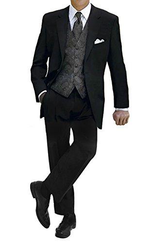 GEORGE BRIDE Herren Anzug 5-Teilig Anzug Sakko,Weste,Anzug Hose,Krawatte,Tasche Platz 009,5XL