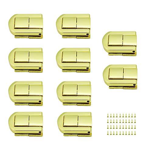 LumenTY10 Stk Koffer Verriegeln Schnappschloss Haspe Kofferverschluss Holzkiste Hasp Verschluss mit Edelstahlschrauben für Schmuckkasten Holzkiste-Golden