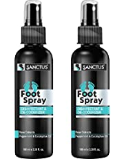 SANCTUS Foot Spray - Disinfectant & Deodorizer - 100ml (For Fresh Smelling Feet All Day) - (PACK OF 2)
