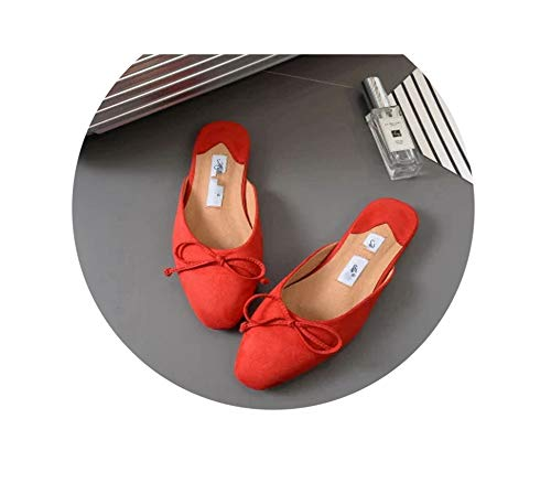 Elegant Butterfly Knot Mules Shoes Woman V Mouth 5cm Thin Heels Point Toe Slippers Women Slides Outdoor Size 35 40,Red,5 Butterfly Thong Sandal