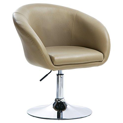 Woltu bh24kk-1 poltrona da bar sedia da scrivania sgabello girevole studio cucina sofa poltroncina con schienale braccioli imbottiti ecopelle cromato altezza regolabile cachi
