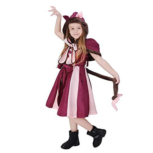 LOLANTA Cheshire Cat Kostüm für Mädchen Wunderland grinsende Katze Cosplay Kleid (4-5 - Teen Kostüm Party Stadt