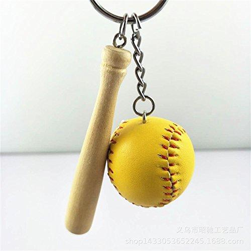 Lizes Gute Geschenke Baseball Anhänger Metall Schlüsselanhänger Geldbörse Handtasche Auto Charme Keychain Geschenk (gelb)