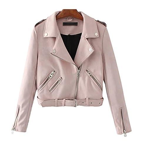 Baymate Damen Classics Jacke Elegant Wildleder Suede Kurz Jacket Outwear (Jacken Kurz)