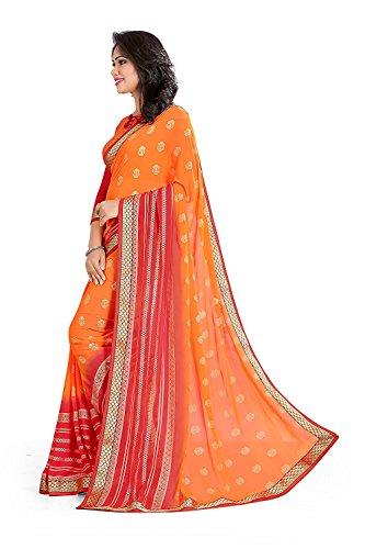 MAHALAXMI FAB_georgette sarees orange colour,new sarees in offers,saree organizer,Women's Georgette Multi-Colour Saree