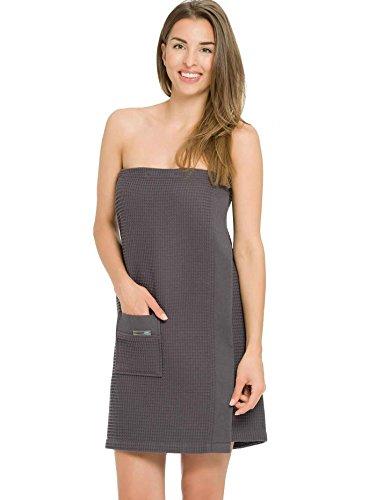 Taubert Thalasso Soft Piqué Damen Sauna Kilt, Länge 75cm Damen, 9880 anthrazit