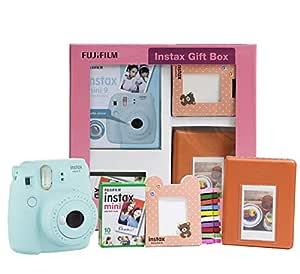 Fujifilm Instax Mini 9 Instant Camera (Ice Blue) Gift Box