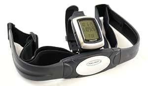 Cardiofréquencemètre SAI de qualité exceptionnelle, tout-en-un, étanche et intégrant une interface USB. Montre avec moniteur cardiaque et capteur3D. Ceinture pectorale de transmission. Mesure de la distance, de la vitesse, du nombre de pas, des calories et de la graisse éliminées. Conçu pour la course à pied, le footing et la marche. Données téléchargeables sur ordinateur. Fonctions d'alarme et de chronomètre.