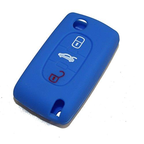 Coque de clé en silicone Peugeot Citroen 3 touches bleu