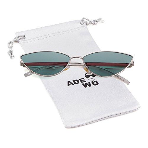 ADEWU 2018 Kleine Katzenaugen Sonnenbrille mit Metallrahmen Herren Damen (A - Grün (Linse) + Silber (Rahmen))
